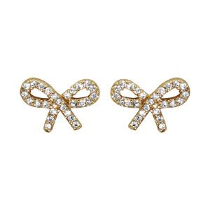 Boucles d\'oreilles en plaqué or noeud féminin en oxydes blancs sertis et fermoir poussette - Vue 1