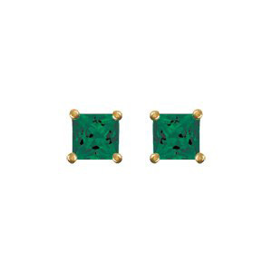 Boucles d\'oreilles en plaqué or oxyde carré vert et fermoir clou avec poussette - Vue 1
