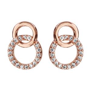 Boucles d'oreilles en plaqué or rose 2 cercles emmaillés, 1 petit lisse et l'autre orné d'oxydes blancs et fermoir tige à poussette