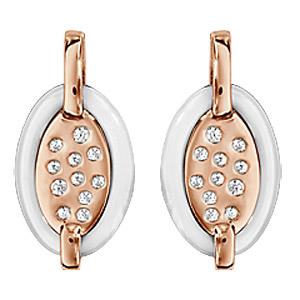 Boucles d\'oreilles en plaqué or rose ovale en céramique blanche avec éclats d\'oxydes blancs sertis et fermoir clou avec poussette - Vue 1