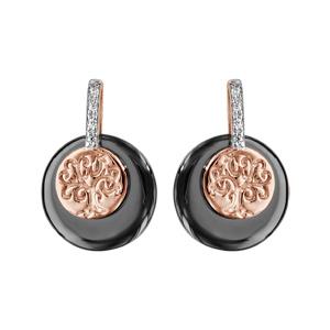 Boucles d\'oreilles en plaqué or rose rondes céramique noire arbre de vie et oxydes blancs sertis fermoir tige à poussette - Vue 1