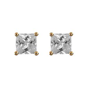 Boucles d\'oreilles en plaqué or solitaire oxyde carré blanc serti 4 griffes et fermoir poussette - Vue 1