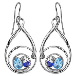 Boucles d\'oreilles finition argentée rhodié crochet spirale verres taillés main bleus - Vue 1