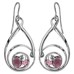 Boucles d\'oreilles finition argentée rhodié crochet spirale verres taillés main rose/violet - Vue 1