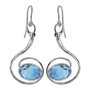 Boucles d\'oreilles finition argentée rhodié crochet volute verre taillé main bleu clair - Vue 1