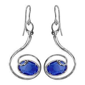 Boucles d\'oreilles finition argentée rhodié crochet volute verre taillé main bleu foncé - Vue 1