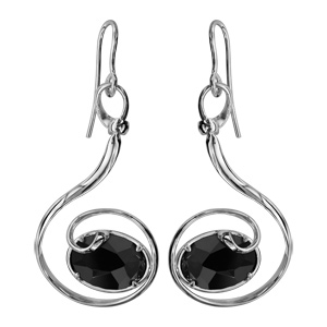 Boucles d\'oreilles finition argentée rhodié crochet volute verre taillé noir - Vue 1