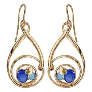 Boucles d\'oreilles finition dorée crochet spirale verres taillés bleus - Vue 1