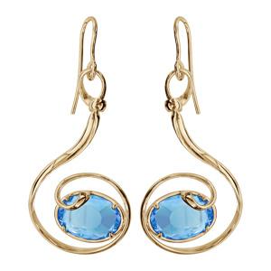 Boucles d\'oreilles finition dorée crochet volute verre taillé main bleu clair - Vue 1