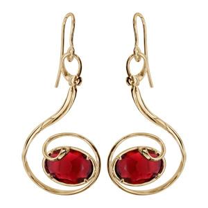 Boucles d\'oreilles finition dorée crochet volute verre taillé main rouge - Vue 1