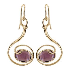Boucles d\'oreilles finition dorée crochet volute verre taillé violet - Vue 1