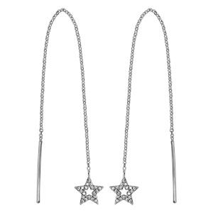 Boucles d\'oreilles passantes en argent rhodié chaînette avec baguette à 1 extrémité et étoile évidée ornée d\'oxydes blancs sertis à l\'autre - Vue 1