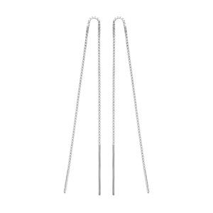 Boucles d\'oreilles passantes en argent rhodié chaînette avec baguettes aux extrémités - Vue 1