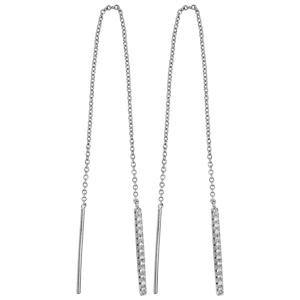 Boucles d\'oreilles passantes en argent rhodié chaînette avec 1 bâton orné d\'oxydes blancs sertis à 1 extrémité et 1 baguette lisse à l\'autre - Vue 1