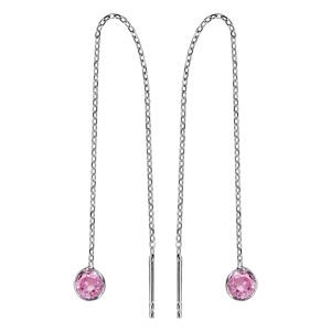 Boucles d\'oreilles passantes en argent rhodié chaînette avec oxyde rose à 1 extrémité et baguette à l\'autre - Vue 1