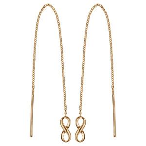 Boucles d'oreilles passantes en plaqué or chaînette avec baguette à 1 extrémité et infini à l'autre
