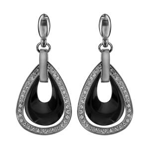 1a61342a577b60 Boucles d'oreilles pendantes en acier barrette retenant 1 goutte en  céramique noire évidée à l'intérieur d'1 goutte ornée d'oxydes blancs ...