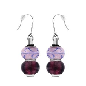 Boucles d\'oreilles pendantes en acier 2 boules en verre avec motifs violets et fermoir crochet - Vue 1