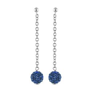 Boucles d\'oreilles pendantes en acier chaînette de 2,5cm avec 1 boule en résine et strass bleu foncé à l\'extrémité et fermoir tige à poussette - Vue 1