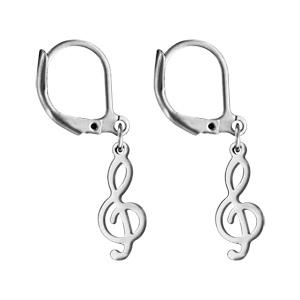 Boucles d\'oreilles pendantes en acier clé de sol et fermoir dormeuse - Vue 1