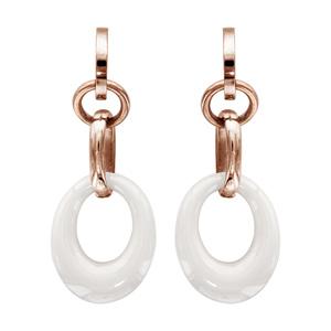 Boucles d\'oreilles pendantes en acier et PVD rose anneau ovale en céramique blanche suspendu à un anneau et fermoir clou avec poussette - Vue 1