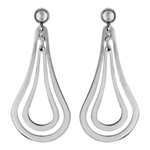 Boucles d'oreilles pendantes en acier 2 poires évidées suspendues et fermoir tige à poussette