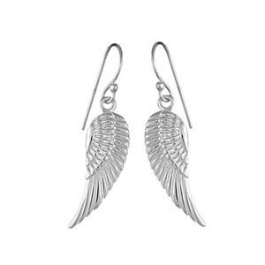 Boucles d'oreilles pendantes en argent aile d'oiseau suspendu et fermoir crochet
