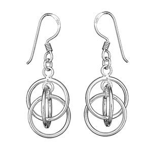 Boucles d\'oreilles pendantes en argent 3 anneaux entrelacés et fermoir crochet - Vue 1