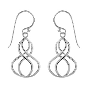 Boucles d\'oreilles pendantes en argent double infini en fils fermoir crochet - Vue 1