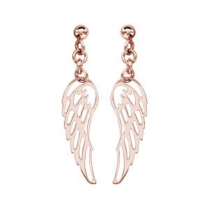 Boucles d'oreilles pendantes en argent et dorure rose aile d'ange suspendue et fermoir tige à poussette