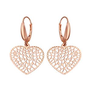 e747e74c0a6cb ... Boucles d oreilles pendantes en argent et dorure rose coeurs ajourés en  dentelle et fermoir