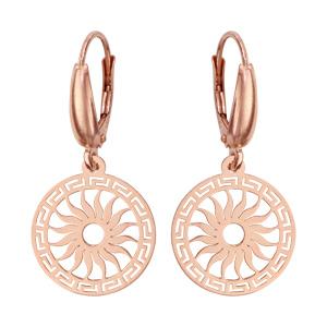 Boucles d\'oreilles pendantes en argent et dorure rose rond avec motif soleil découpé et fermoir dormeuse - Vue 1