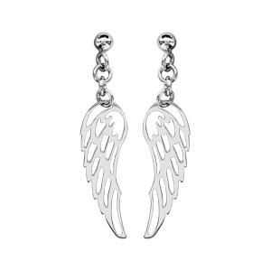 Boucles d'oreilles pendantes en argent rhodié aile d'ange suspendue et fermoir tige à poussette