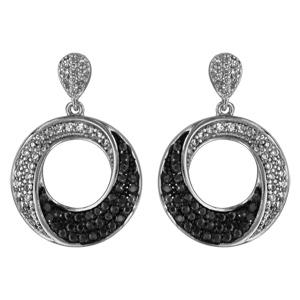 Boucles d\'oreilles pendantes en argent rhodié anneau suspendu orné d\'oxydes noirs et blancs et fermoir poussette - Vue 1