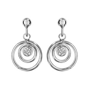 Boucles d\'oreilles pendantes en argent rhodié 2 anneaux suspendus avec 1 oxyde blanc au centre et fermoir clou avec poussette - Vue 1