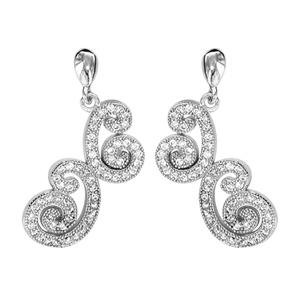 Boucles d'oreilles pendantes en argent rhodié arabesques en oxydes blancs sertis et fermoir tige à poussette