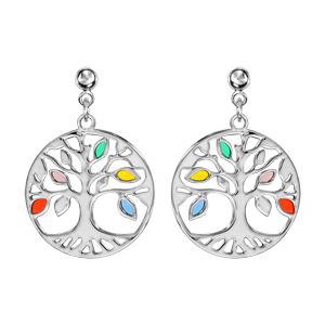 Boucles d\'oreilles pendantes en argent rhodié arbre de vie multicolore et ajouré fermoir poussette - Vue 1