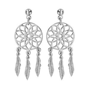 Boucles d\'oreilles pendantes en argent rhodié attrape rêve avec 3 plumes suspendues et fermoir clou avec poussette - Vue 1