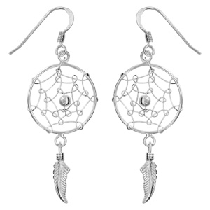 Boucles d\'oreilles pendantes en argent rhodié attrape rêves avec 1 plume suspendue et fermoir crochet - Vue 1