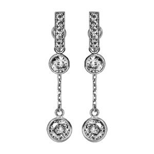 Boucles d'oreilles pendantes en argent rhodié barrette d'oxydes blancs sertis avec oxyde rond blanc ou bout, chaînette et oxyde rond blanc à l'extrémité et fermoir tige à poussette