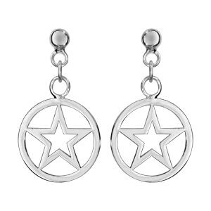 Boucles d\'oreilles pendantes en argent rhodié cercle suspendu avec étoile découpée à l\'intérieur et fermoir poussette - Vue 1