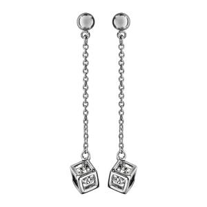 collier en argent rhodi cha ne avec pendentif cube ouvert avec 1 oxyde blanc l 39 int rieur. Black Bedroom Furniture Sets. Home Design Ideas