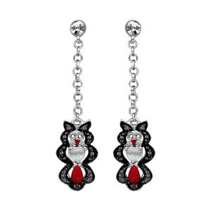 Boucles d\'oreilles pendantes en argent rhodié chaînette avec hibou en résine noire et rouge et fermoir clou avec poussette - Vue 1