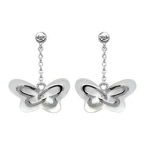 Boucles d  oreilles pendantes en argent rhodié chaînette avec papillon en  nacre blanche véritable 579227a1cb9b
