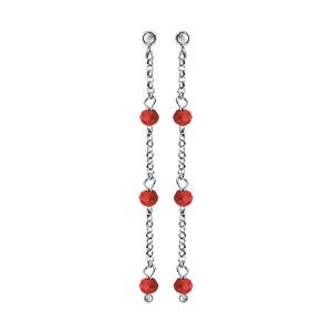 Boucles d\'oreilles pendantes en argent rhodié chaînette avec perles de verre facettées rouge et fermoir poussette - Vue 1