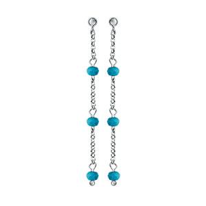 Boucles d\'oreilles pendantes en argent rhodié chaînette avec perles de verre facettées turquoises et fermoir poussette - Vue 1