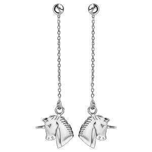 Boucles d\'oreilles pendantes en argent rhodié chaînette avec tête de licorne et fermoir poussette - Vue 1