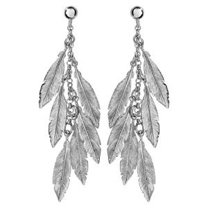 Boucles d\'oreilles pendantes en argent rhodié chaînette retenant 6 plumes et fermoir clou avec poussette - Vue 1
