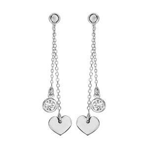 Boucles d\'oreilles pendantes en argent rhodié chaînettes avec pampille coeur et pampille oxyde blanc serti clos fermoir poussette - Vue 1