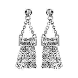 Boucles d\'oreilles pendantes en argent rhodié chaînettes retenant une baguette avec franges en chaînettes et fermoir clou avec poussette - Vue 1